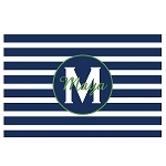 Blue Striped Green Accent Personalized Placemat