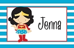 Blue Striped Wonder Woman Custom Placemat