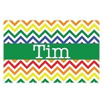Bright Multicolored Chevron with Green Personalized Placemat