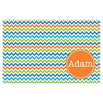 Bright Multicolored Mini Chevron with Orange Personalized Placemat