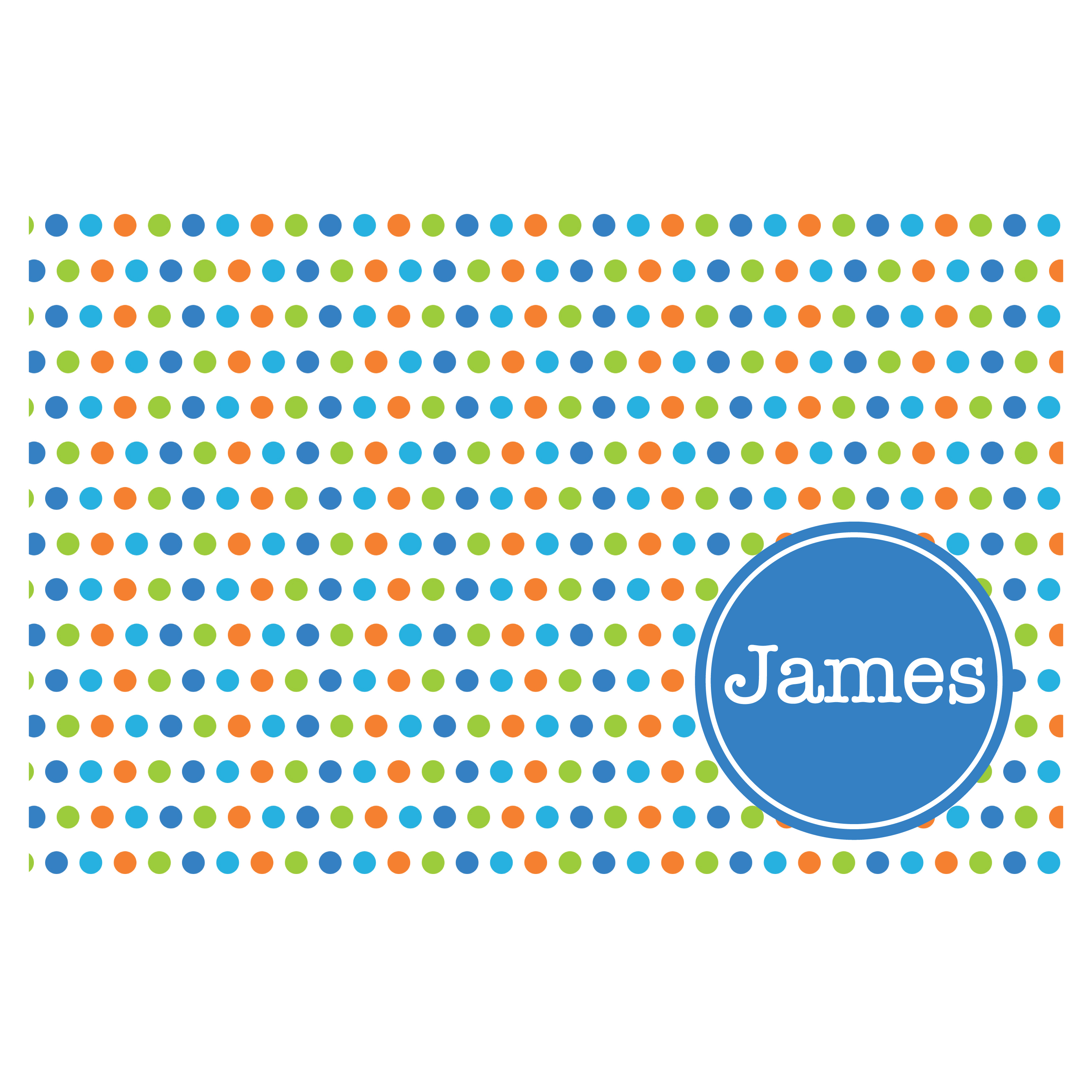 bright multicolored dots with blue personalized placemats ooh la