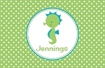 Green Dotted Seahorse Custom Placemat