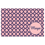 Blue and Pink Quarterfoil Personalized Placemat