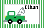 Striped Green Tow Truck Custom Placemat