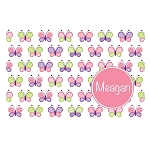 Multicolored Butterflies with Pink Circle Personalized Placemat
