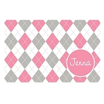 Pink and Grey Argyle Personalized Placemat