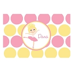 Pink and Yellow Blonde Ballerina Personalized Placemat