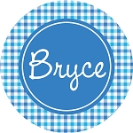 Blue and Purple Plaid Personalized Melamine Plate