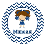 Blue Chevron Cheerleader Custom Melamine Plate
