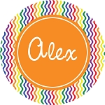 Multicolored Waves with Orange Personalized Melamine Plate