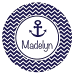 Chevron Nautical Custom Melamine Plate