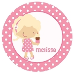 Ice Cream Girl Custom Melamine Plate