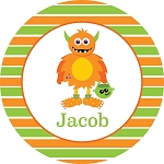 Monster 3 Personalized Melamine Plate