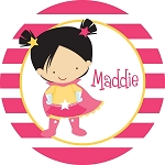 Striped Supergirl Personalized Melamine Plate
