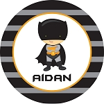 Striped Grey and Black Caped Superhero Personalized Melamine Plate