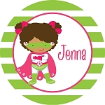 Multicultural Superhero Girl Personalized Melamine Plate