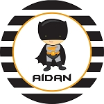 Black Striped Caped Superhero Personalized Melamine Plate
