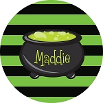 Striped Cauldron Halloween Personalized Melamine Plate