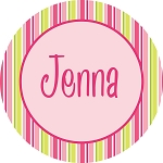 Rainbow Striped Personalized Melamine Plate