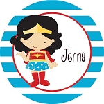 Blue Striped Wonder Woman Personalized Melamine Plate