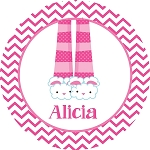 Pink PJ's Personalized Melamine Plate