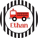 Red Firetruck Personalized Melamine Plate