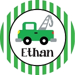 Green Striped Tow Truck Personalized Melamine Plate