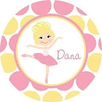 Freckled Blonde and Yellow Ballerina Personalized Melamine Plate