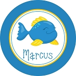 Happy Blue Fish Personalized Melamine Plate