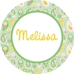 Mint Green Paisley Personalized Melamine Plate