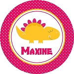 Pink Dotted Dinosaur Personalized Melamine Plate
