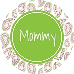 Pink and Green Paisley with Green Circle Personalized Melamine Plate