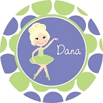 Freckled Purple and Green Dotted Blonde Ballerina Personalized Melamine Plate    (COPY)