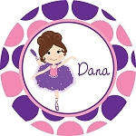 Freckled Purple and Pink Dotted Ballerina Personalized Melamine Plate