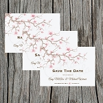 Pink Floral Branches Custom Save the Date