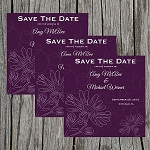 Purple Floral Branches Custom Save the Date