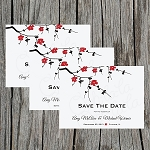 Red Floral Branches Custom Save the Date