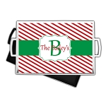 Red Striped Christmas Custom Serving Tray