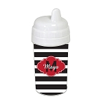 Black Striped Red Cloud 10 oz. Custom Spill Proof Sippy Cup
