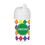Multicolored Argyle with Green 10 oz. Custom Spill Proof Sippy Cup