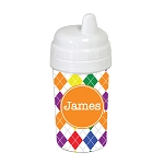 Multicolored Argyle with Orange 10 oz. Custom Spill Proof Sippy Cup