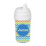 Multicolored Small Chevron with Blue 10 oz. Custom Spill Proof Sippy Cup