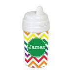 Bright Multicolored Chevron with Green 10 oz. Custom Spill Proof Sippy Cup