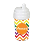 Bright Multicolored Chevron with Orange 10 oz. Custom Spill Proof Sippy Cup