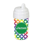 Multicolored Stars with Green 10 oz. Custom Spill Proof Sippy Cup