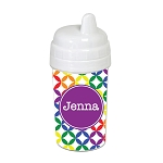 Multicolored Stars with Purple 10 oz. Custom Spill Proof Sippy Cup