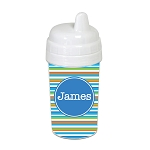 Horizontal Stripes with Blue 10 oz. Custom Spill Proof Sippy Cup