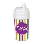 Multicolored Stripes with Purple 10 oz. Custom Spill Proof Sippy Cup
