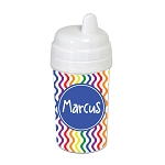 Multicolored Waves with Blue 10 oz. Custom Spill Proof Sippy Cup
