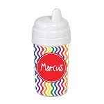 Multicolored Waves with Red 10 oz. Custom Spill Proof Sippy Cup